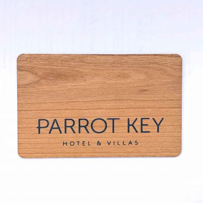 Sustainable wood RFID key card works with Saflok Quantum series lock